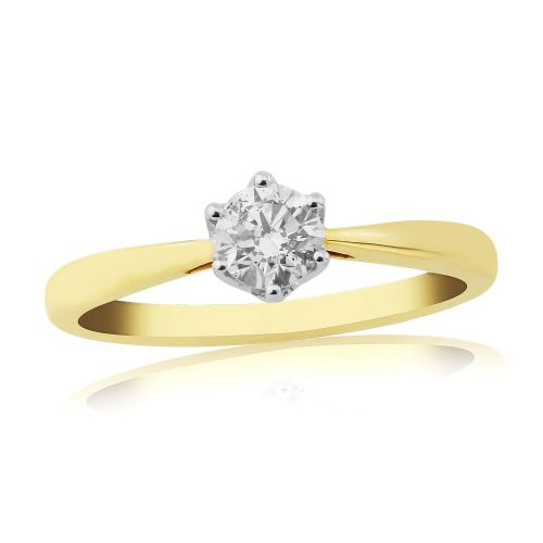 Solitaire Single Stone Six Claw Engagement Ring Yellow Gold 33 Points